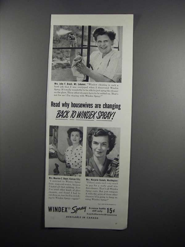 Primary image for 1950 Windex Spray Ad - Housewives Are Changing Back