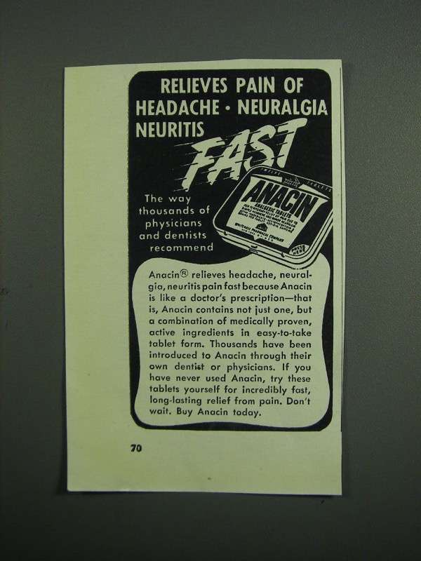 Primary image for 1951 Anacin Medicine Ad - Relieves Pain