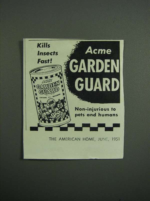 Primary image for 1951 Acme Garden Guard Ad - Kills Insects Fast