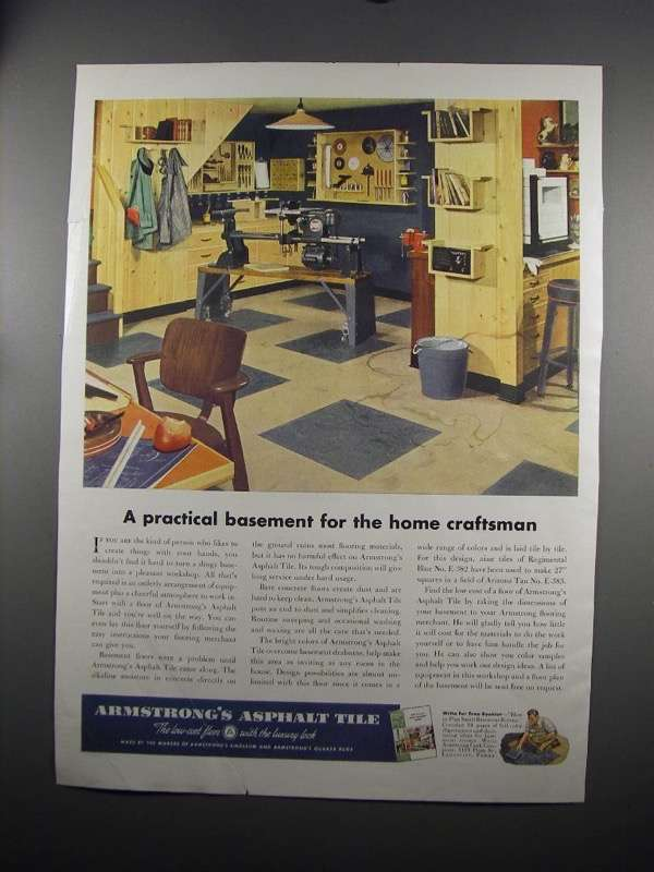 Primary image for 1951 Armstrong's Asphalt Tile Ad - Practical Basement