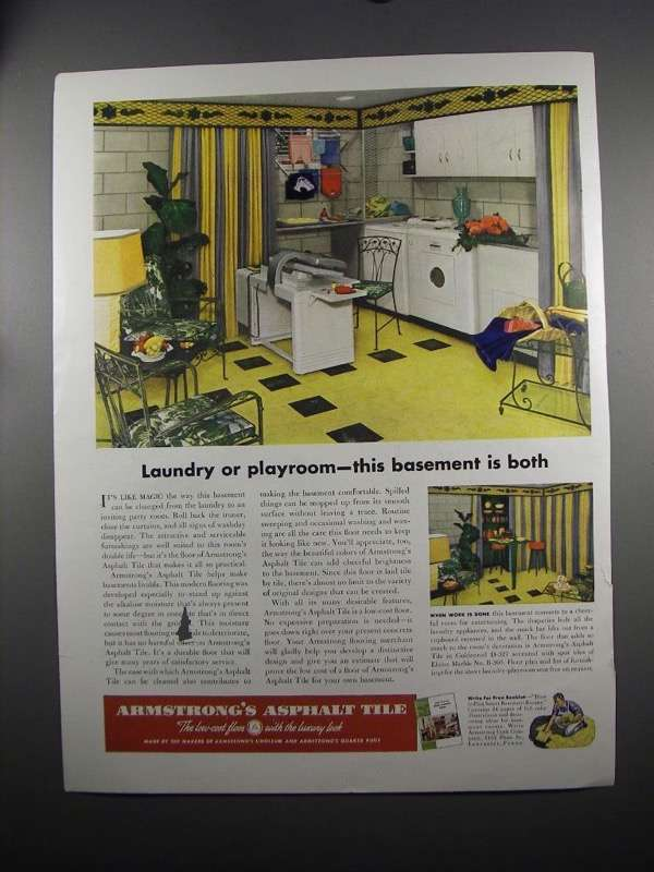 Primary image for 1951 Armstrong's Asphalt Tile Ad - Laundry or Playroom