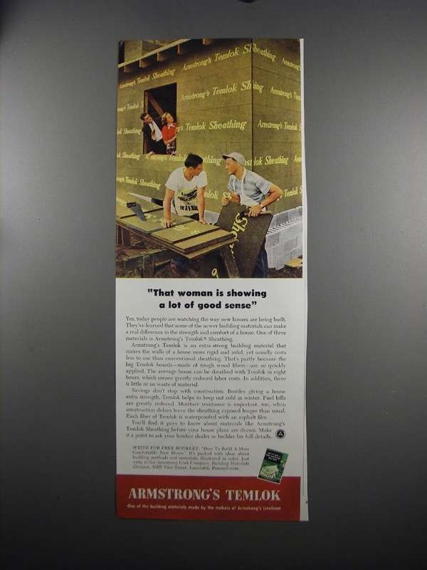 Primary image for 1951 Armstrong's Temlok Sheathing Ad - Woman Good Sense