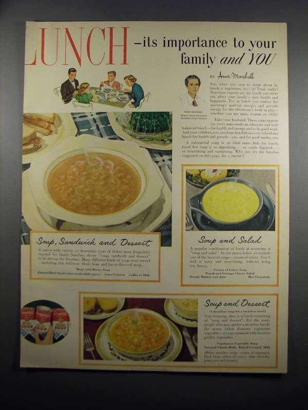 Primary image for 1951 Campbell's soup Ad - Lunch It's Importance