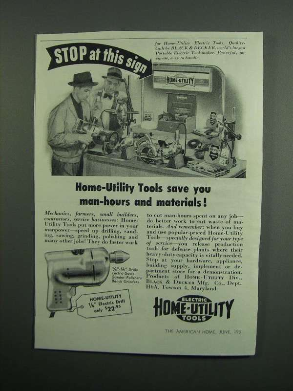 "Primary image for 1951 Black & Decker Home-Utility 1/4"" Drill Ad"