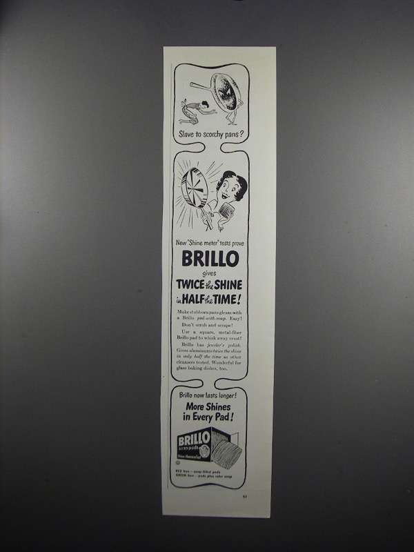 Primary image for 1951 Brillo Soap Pads Ad - Slave to Scorchy Pans?