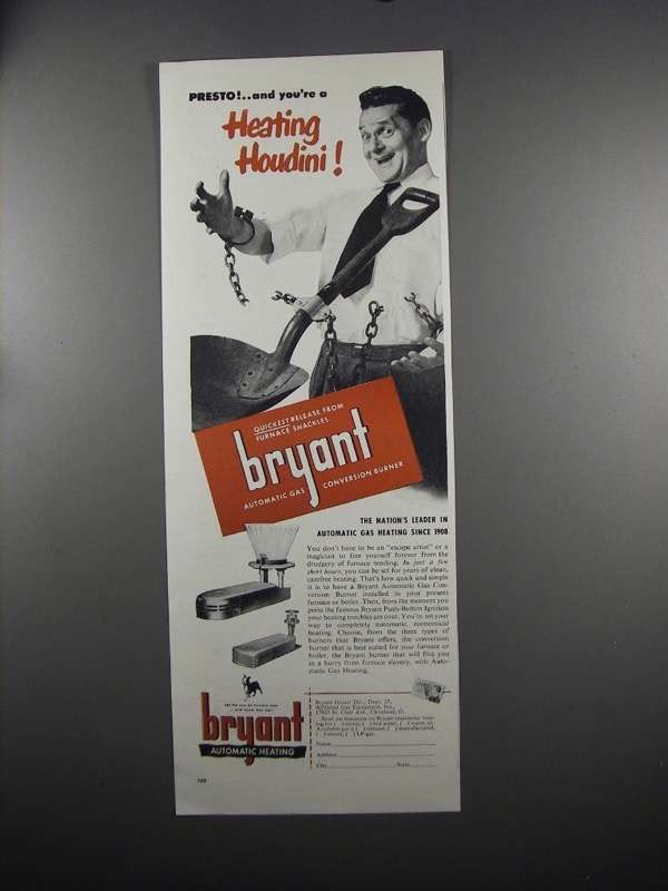 Primary image for 1951 Bryant Automatic Gas Heating Ad - Heating Houdini