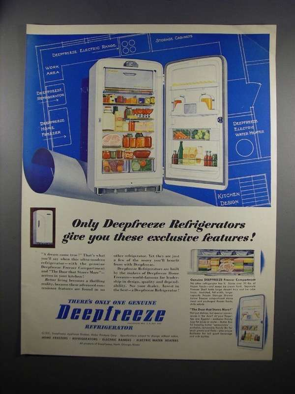 Primary image for 1951 Deepfreeze Refrigerator Ad - Exclusive Features