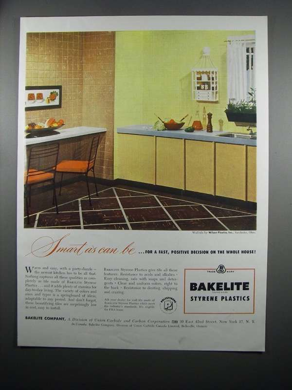 Primary image for 1954 Bakelite Styrene Plastic Wall Tile Ad - Smart