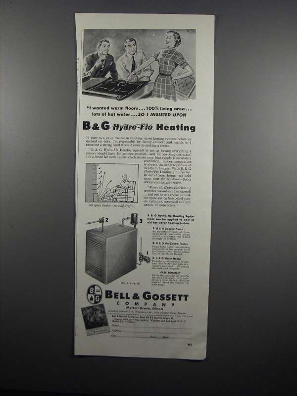 Primary image for 1954 Bell & Gossett Hydro-Flo Heating System Ad