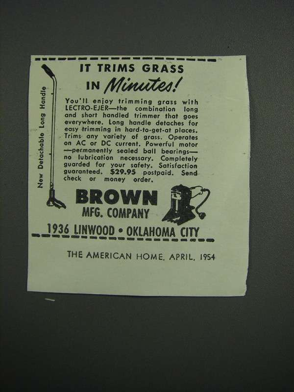 Primary image for 1954 Brown Lectro-Ejer Ad - Trims Grass In Minutes