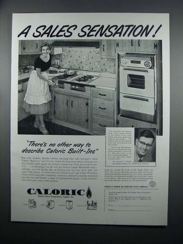 Primary image for 1954 Caloric Built-In Ranges Ad - A Sales Sensation
