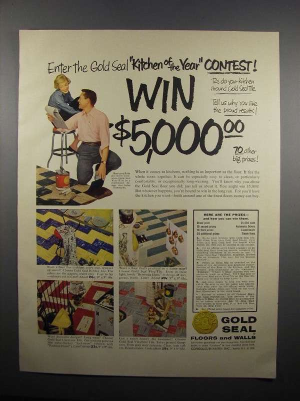 Primary image for 1954 Congoleum-Nairn Gold Seal Floors and Walls Ad