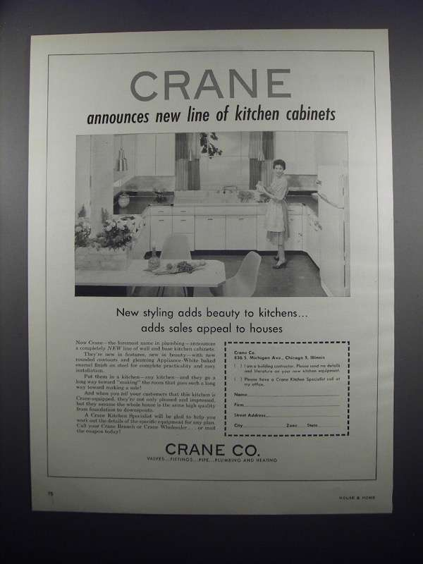 Primary image for 1954 Crane Kitchen Cabinets Ad
