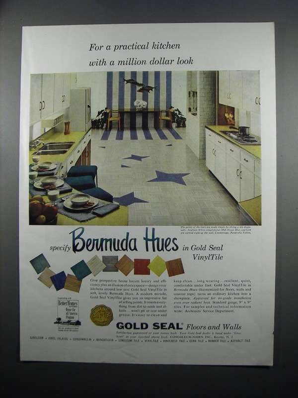 Primary image for 1954 Congoleum-Nairn Gold Seal VinylTile Ad - Kitchen