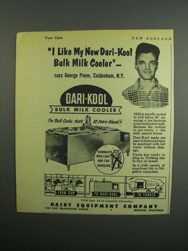 Primary image for 1954 Dairy Equipment Co. Dari-Kool Bulk Milk Cooler Ad