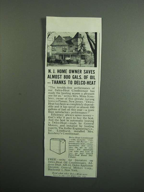 Primary image for 1951 Delco Heat Conditionair Ad - N.J. Home Owner