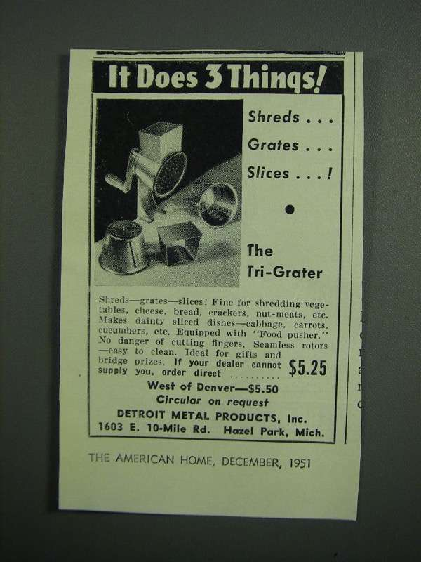 Primary image for 1951 Detroit Metal Products Tri-Grater Ad - 3 Things