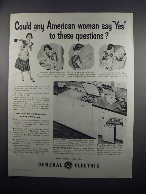 Primary image for 1951 General Electric Dishwasher Ad - Any Woman Say Yes