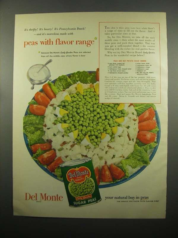 Primary image for 1954 Del Monte Sugar Peas Ad - Hot Potato Salad Crown