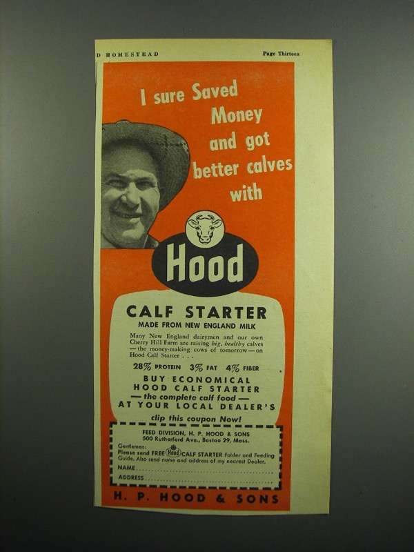 Primary image for 1954 Hood Calf Starter Ad - I Sure Saved Money