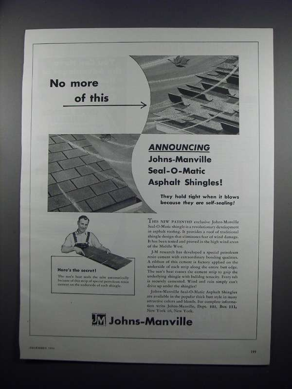Primary image for 1954 Johns-Manville Seal-O-Matic Asphalt Shingles Ad