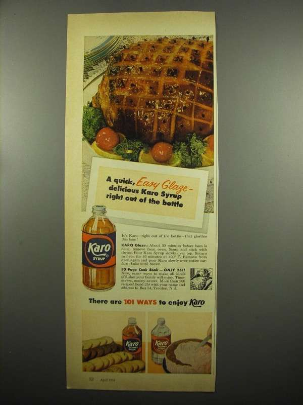 Primary image for 1954 Karo Syrup Ad - A Quick Easy Glaze
