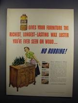 1951 Johnson's Pride Wax Ad - Your Furniture - $14.99