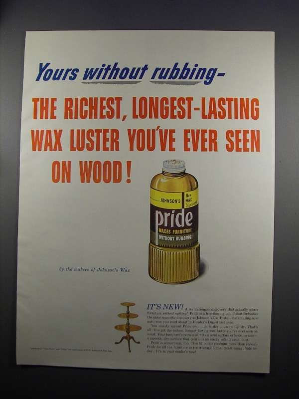 Primary image for 1951 Johnson's Pride Wax Ad - Yours Without Rubbing