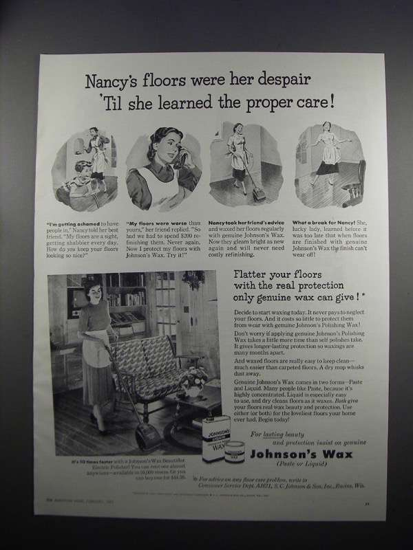 1951 Johnson's Wax Ad - Nancy's Floor Were Her Despair