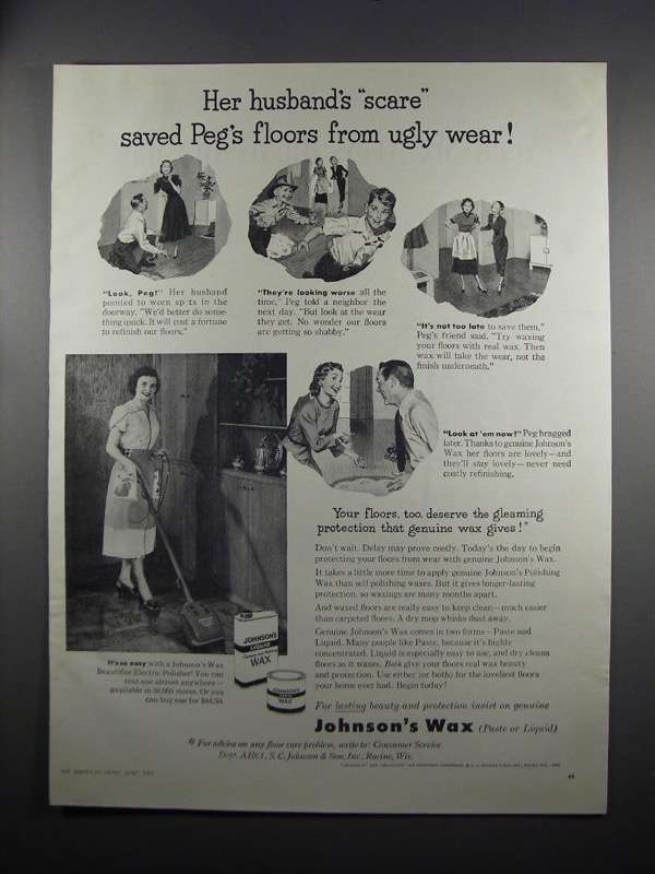 1951 Johnson's Wax Ad - Her Husband's Scare