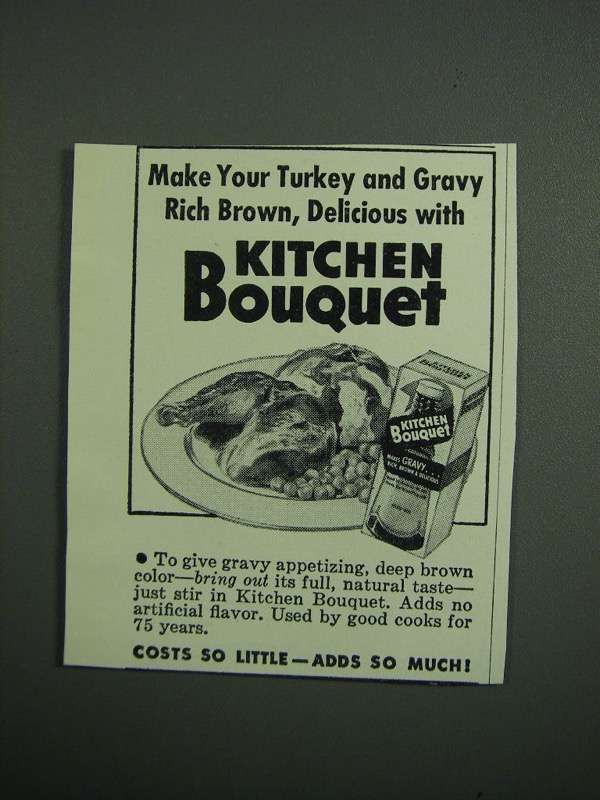 Primary image for 1951 Kitchen Bouquet Ad - Turkey and Gravy