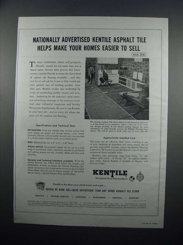 Primary image for 1954 Kentile Asphalt Tile Ad - Easier To Sell