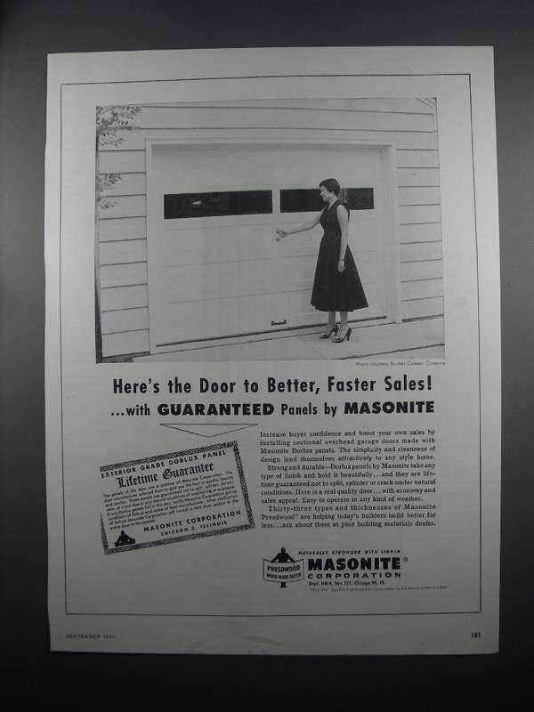 Primary image for 1954 Masonite Dorlux Panels for Garage Doors Ad