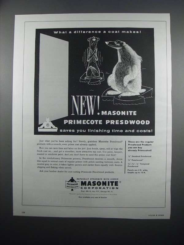 Primary image for 1954 Masonite Primecote Presdwood Ad - What Difference