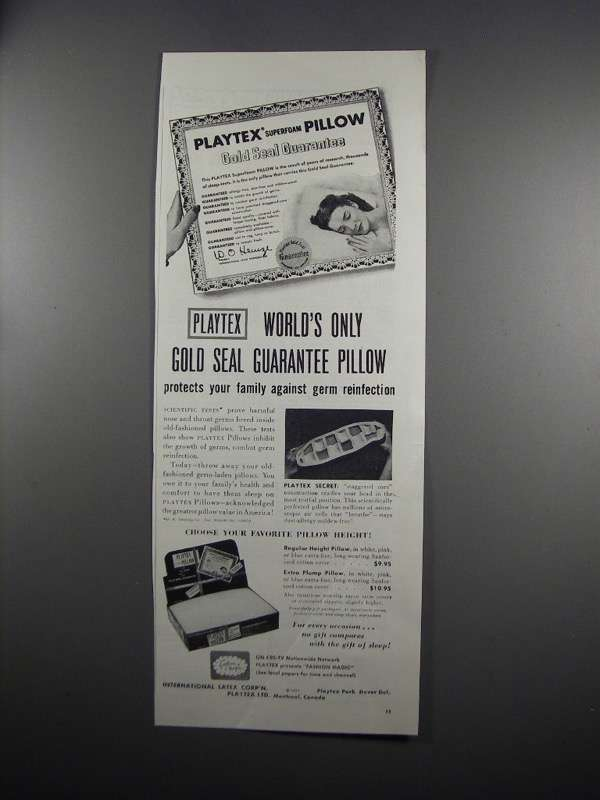 Primary image for 1951 Playtex Superfoam Pillow Ad - Gold Seal Guarantee