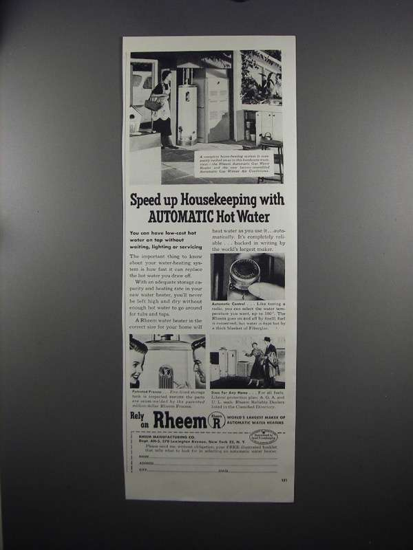 Primary image for 1951 Rheem Hot Water Heater Ad - Speed up Housekeeping