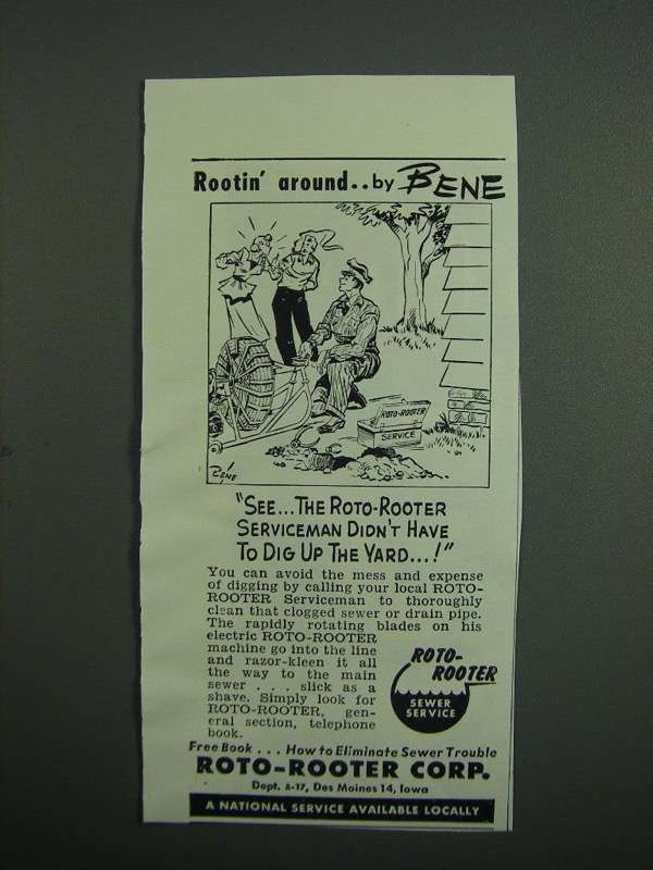 Primary image for 1951 Roto-Rooter Corp. Ad - Bene - Dig Up Yard