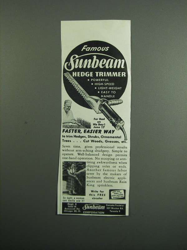 Primary image for 1951 Sunbeam Hedge Trimmer Ad - Famous