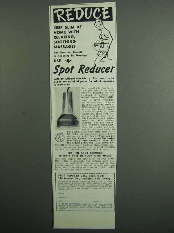 Primary image for 1951 Spot Reducer Massager Ad - Keep Slim at Home