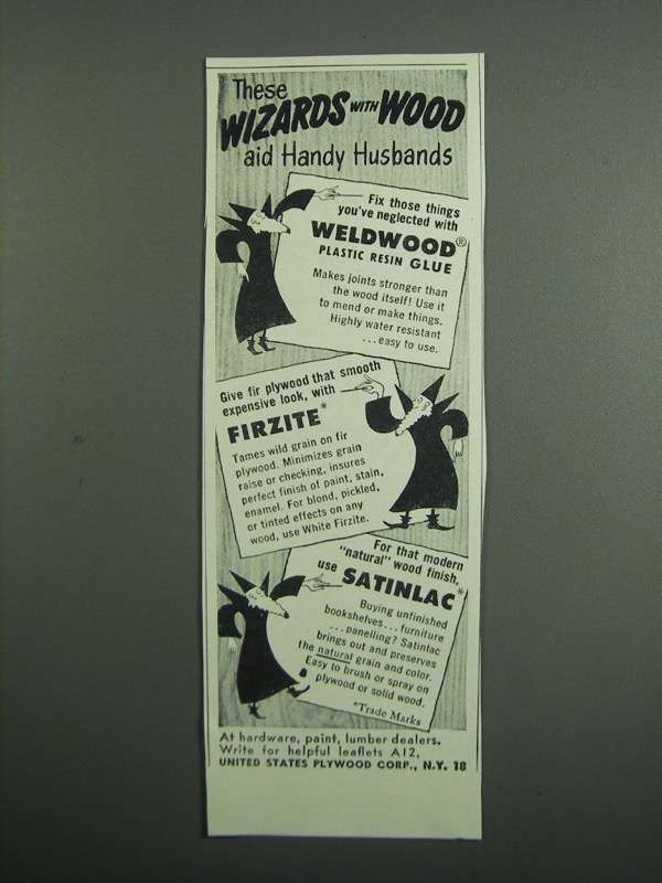 Primary image for 1951 United States Plywood Ad - Weldwod, Firzite