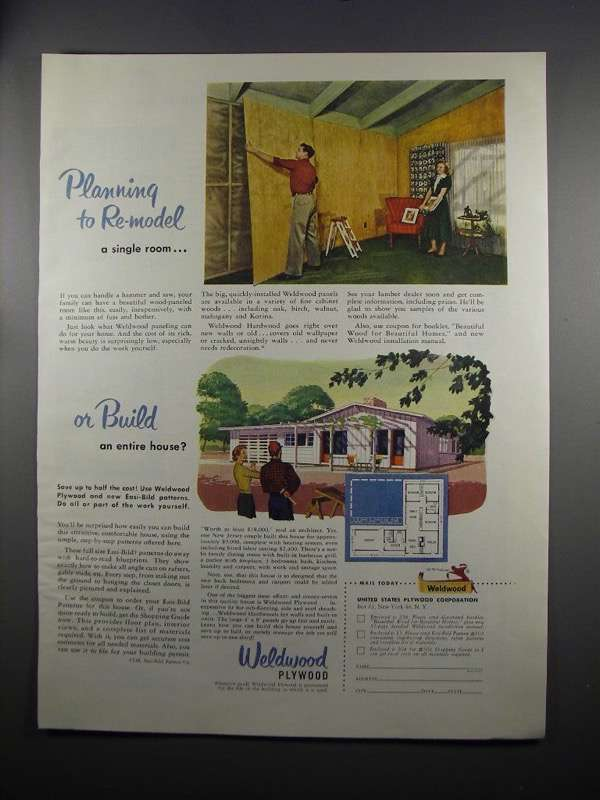 Primary image for 1951 United States Plywood Corp. Weldwood Paneling Ad