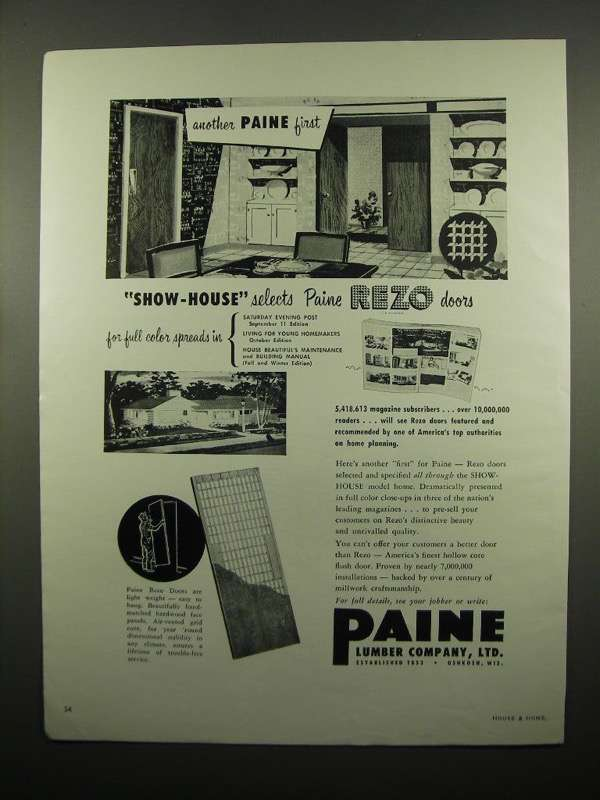 Primary image for 1954 Paine Lumber Company Rezo Doors Ad