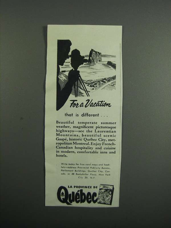 Primary image for 1954 Quebec Canada Ad - For a Vacation