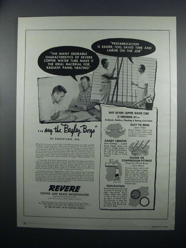Primary image for 1954 Revere Copper Water Tube Ad - Radiant Panel