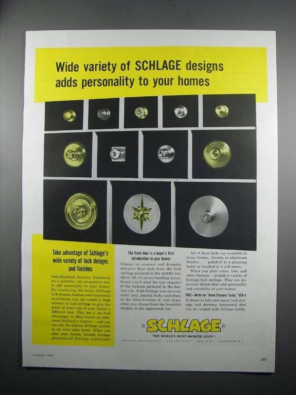 Primary image for 1954 Schlage Locks Ad - Wide Variety of Designs