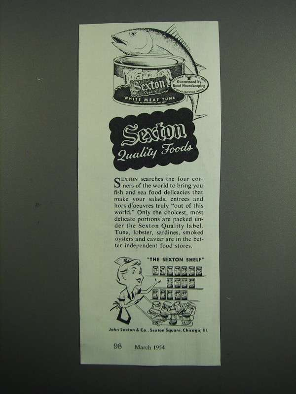Primary image for 1954 Sexton White meat Tuna Ad - Quality Foods