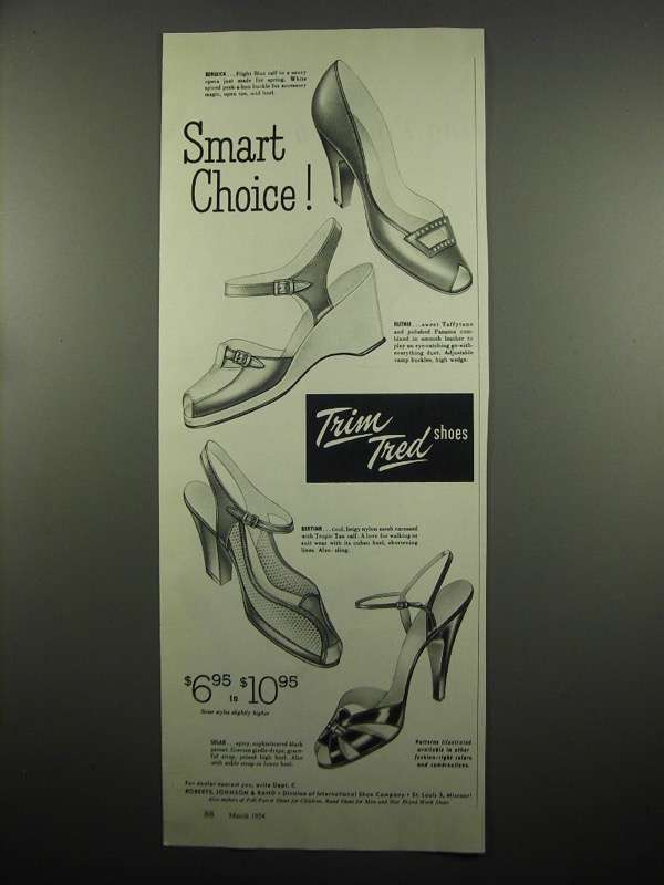 Primary image for 1954 Trim Tred Shoes Ad - Berwick Ruthie Bertina Solar