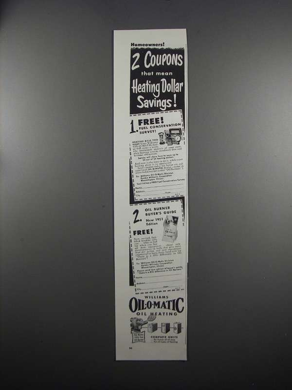 Primary image for 1951 Williams Oil-O-Matic Heating Ad - 2 Coupons
