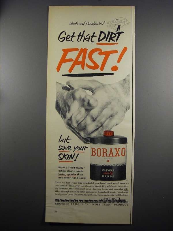 Primary image for 1952 20 Mule Team Boraxo Ad - Get Dirt Fast
