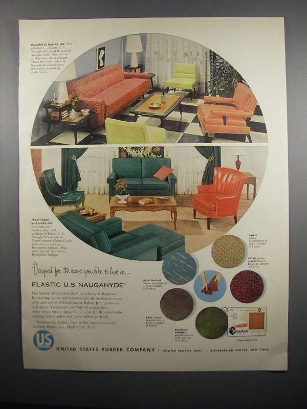 Primary image for 1954 United States Rubber Naugahyde Ad - For Rooms